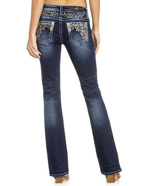 Miss Me Women's Leaf Pocket Boot Cut Jeans, Indigo, hi-res