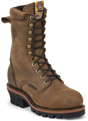 "Justin Men's Casement 10"" Aged Bark EH Waterproof Logger Boots - Steel Toe, Aged Bark, hi-res"