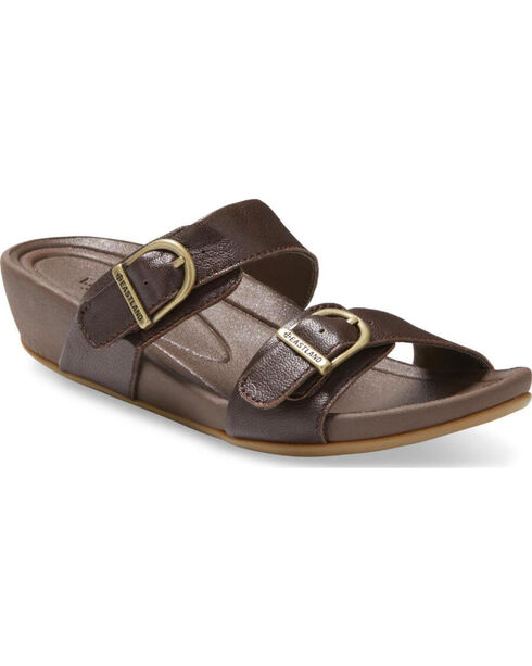 Eastland Women's Brown Cape Ann Buckle Slide Sandals , Brown, hi-res