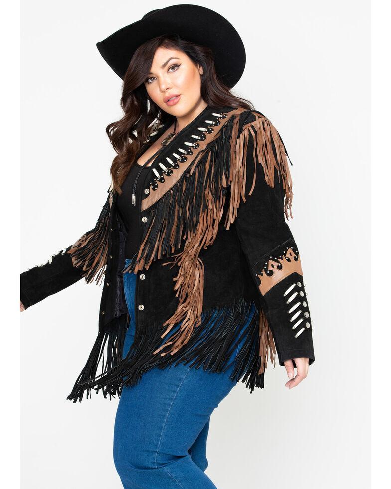Liberty Wear Black Fringe Leather Jacket - Plus, Black, hi-res