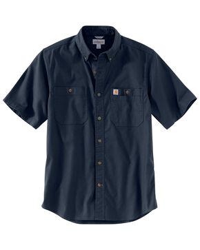 Carhartt Men's Navy Rugged Flex Rigby Short Sleeve Work Shirt - Tall , Navy, hi-res