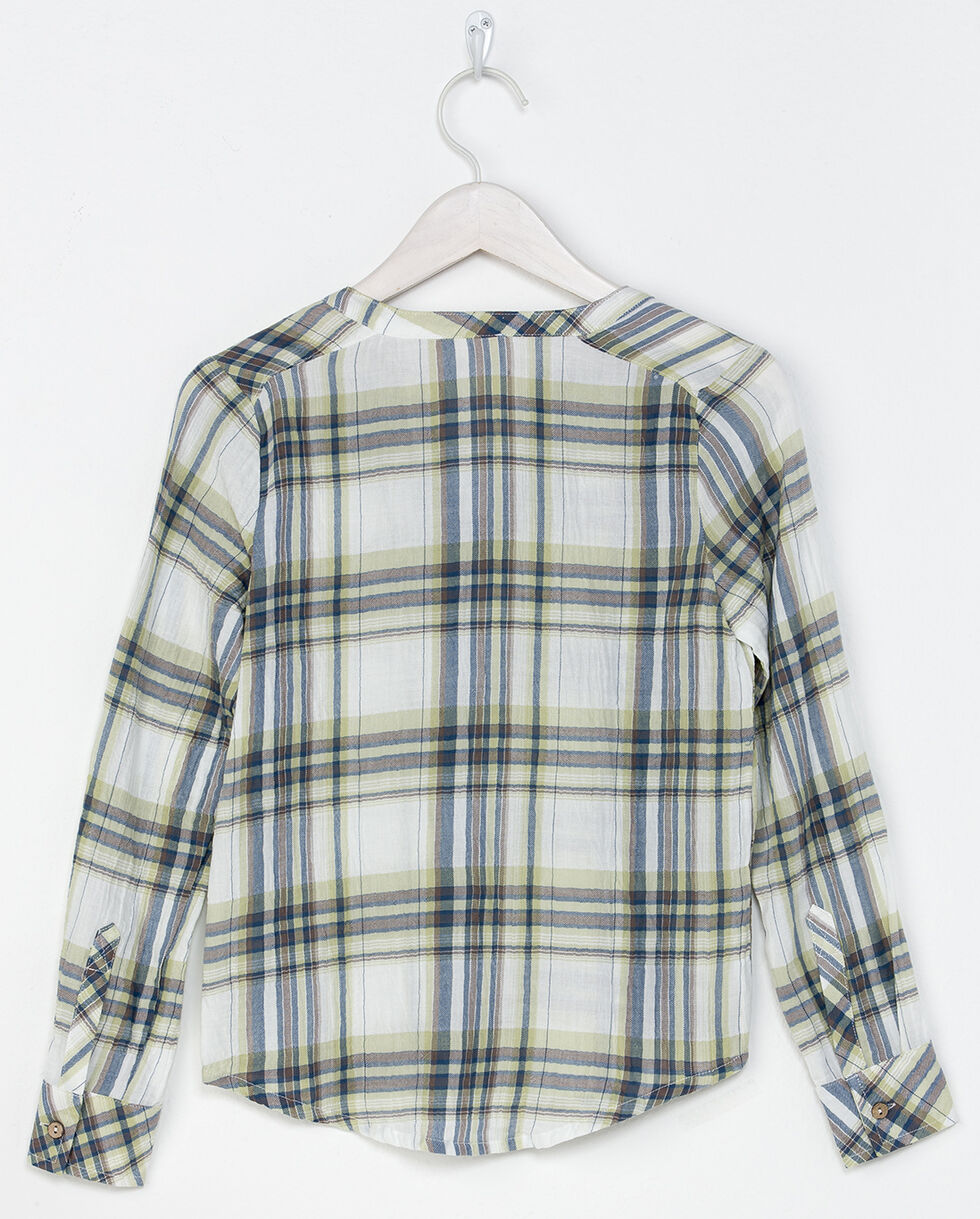 Miss Me Girls' Easy Street Plaid Shirt , Green, hi-res