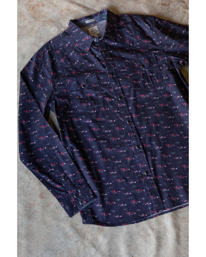Moonshine Spirit Men's Party Gras Floral Print Long Sleeve Western Shirt , Navy, hi-res