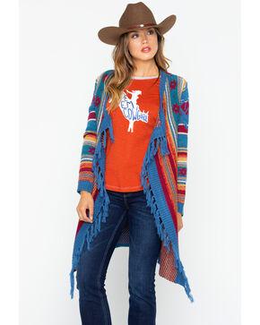 Wrangler Women's Aztec Pattern Fringe Cardigan, Multi, hi-res