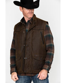 Outback Trading Co. Magnum Fleece Lined Oilskin Vest, Bronze, hi-res
