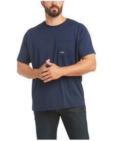 Ariat Men's Navy Rebar Heat Fighter Short Sleeve Work T-Shirt - Big , Navy, hi-res