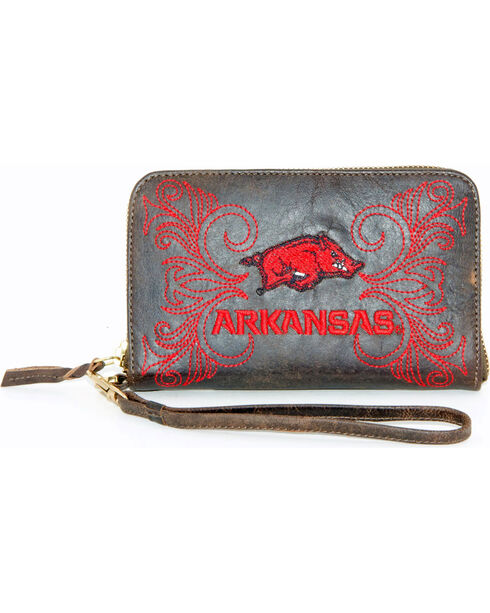 Gameday Boots University of Arkansas Leather Wristlet, Black, hi-res