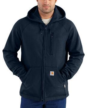 Carhartt Men's Flame Resistant Force Hooded Fleece Jacket, Navy, hi-res