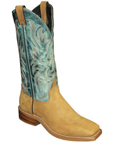 Abilene Women's Two-Toned Cowgirl Boots - Square Toe, Tan, hi-res