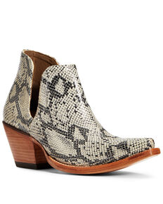 Ariat Women's Dixon Snake Print Fashion Booties - Snip Toe, Black, hi-res