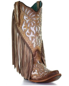 Corral Women's Embroidery & Studs Western Boots - Snip Toe, Tan, hi-res