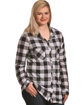Derek Heart Women's Two Pocket Plaid Button Down Shirt - Plus, White, hi-res