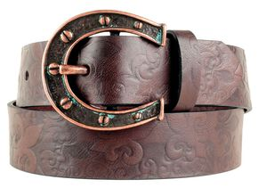Ariat Charmed Horseshoe Buckle Belt, Chocolate, hi-res