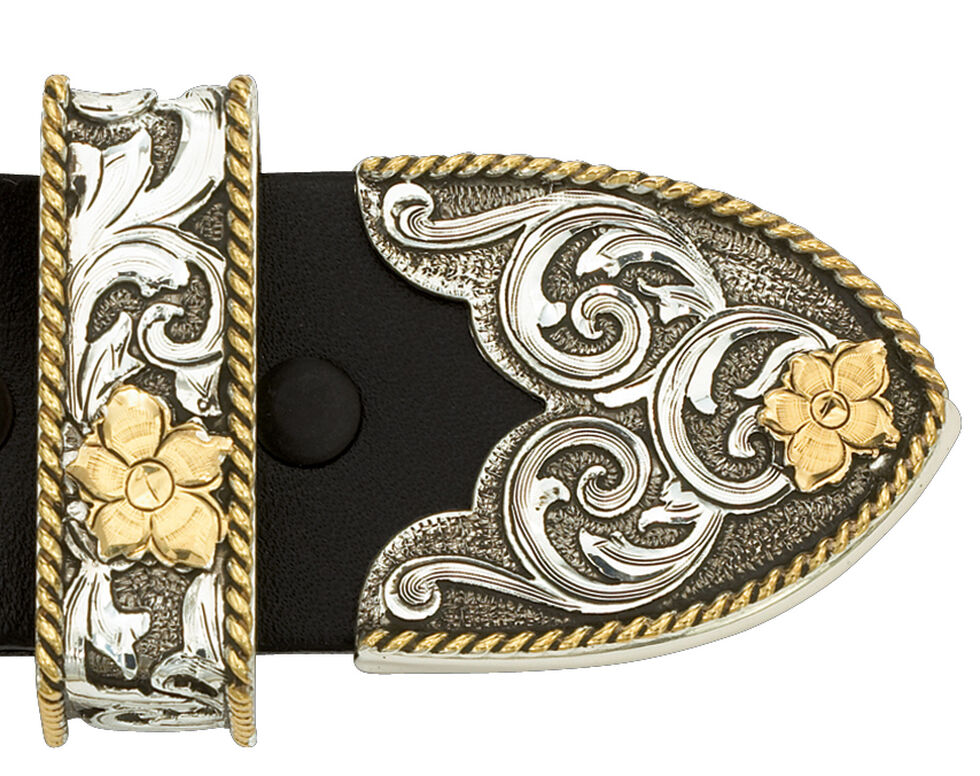 Montana Silversmiths Antiqued Two-Tone Filigree 3-Piece Belt Buckle Set, Multi, hi-res