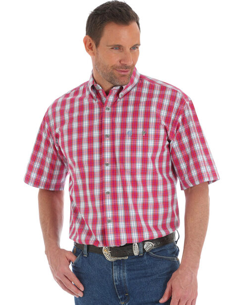 Wrangler George Strait Men's Red Plaid Short Sleeve Button Down Shirt - Tall, Red, hi-res