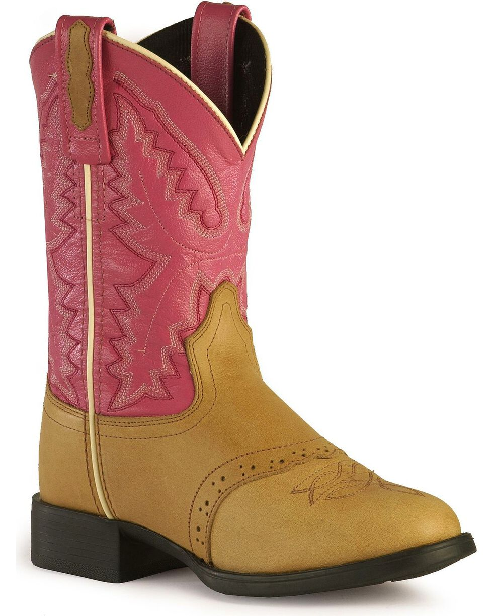 Old West Girls' Pink Cowgirl Boots - Round Toe, Sand, hi-res