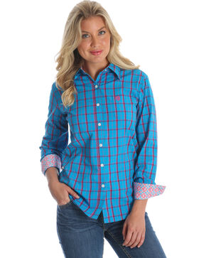 Wrangler Women's Blue George Strait Plaid Western Shirt , Multi, hi-res
