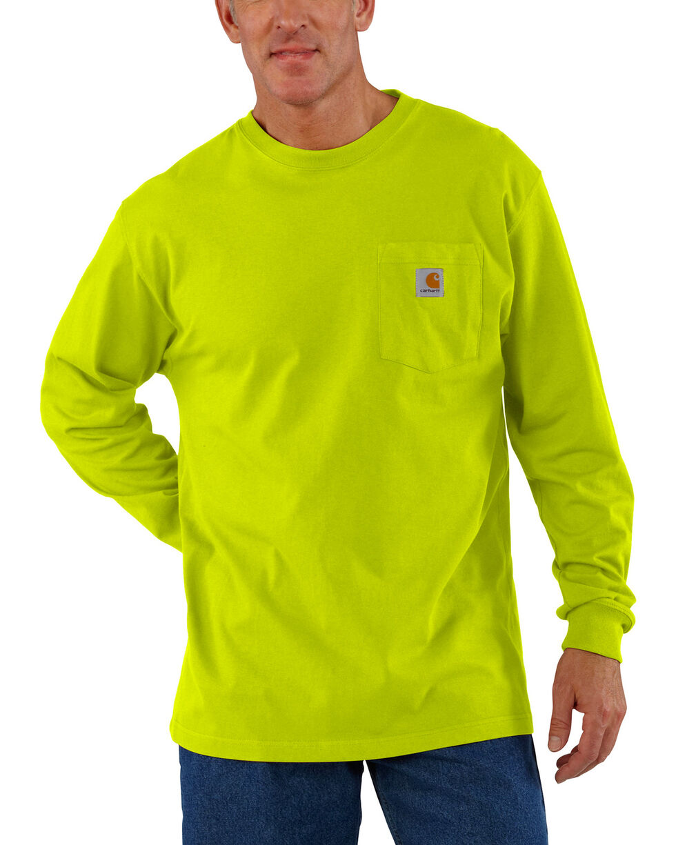 Carhartt Men's Green Long Sleeve Pocket T-Shirt - Tall, Green, hi-res