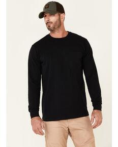 Hawx Men's Solid Black Forge Long Sleeve Work Pocket T-Shirt , Black, hi-res