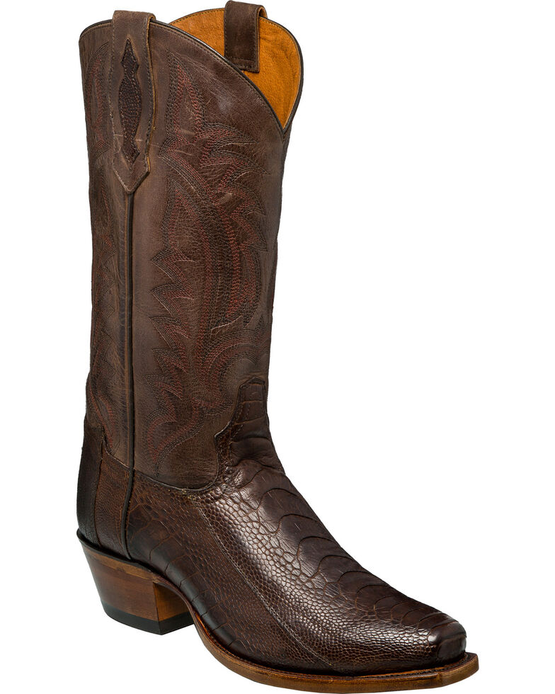 c8d3b2f911b Tony Lama Men's Chocolate Oiled Ostrich Leg Cowboy Boots - Square Toe