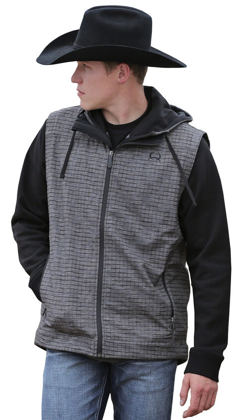 Cinch Men's Grey and Black Bonded Vest , Grey, hi-res