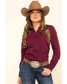 Cinch Women's Dark Fuchsia Stripe Button Long Sleeve Western Shirt, Dark Pink, hi-res