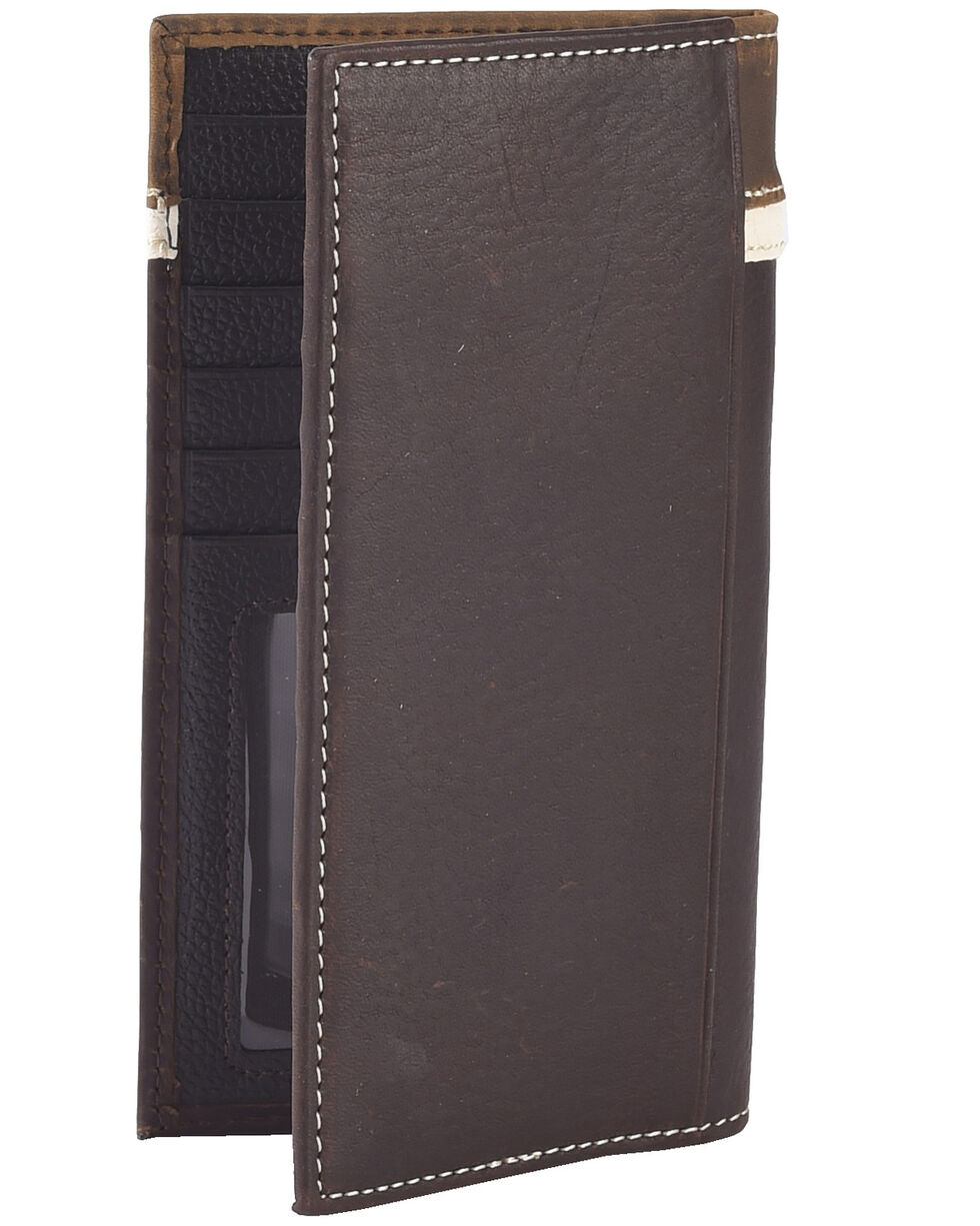 Nocona Tooled Overlay w/ Longhorn Concho Tri-fold Wallet, Brown, hi-res