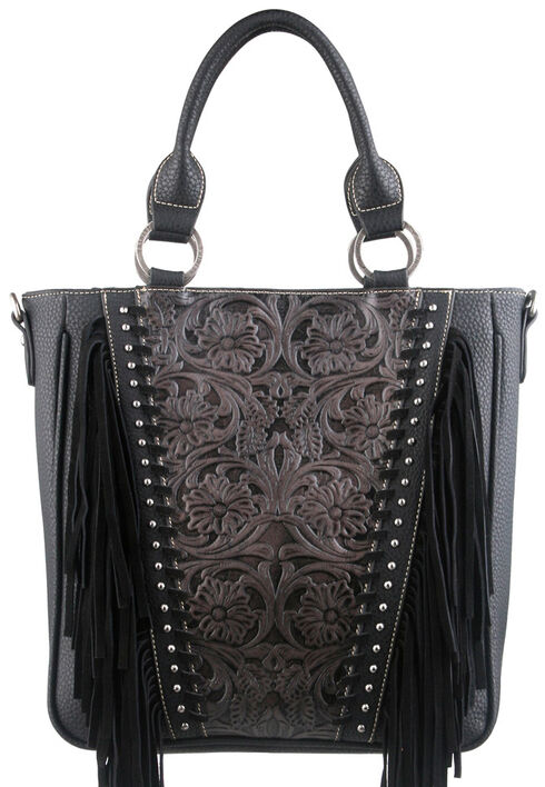 Montana West Trinity Ranch Black Tooled Design Concealed Handgun Collection Handbag, Black, hi-res