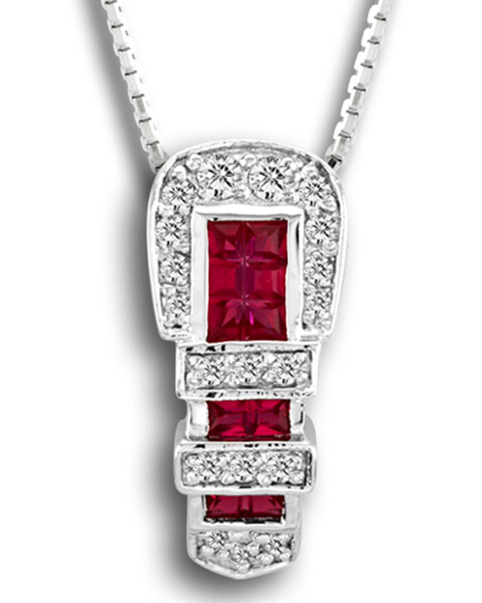 Kelly Herd Women's Red Ranger Buckle Pendant Necklace , Red, hi-res