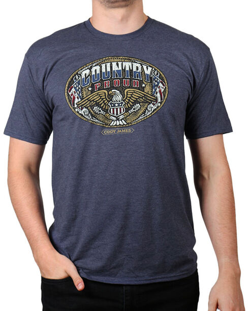 Cody James Men's Country Proud Short Sleeve T-Shirt, Heather Blue, hi-res