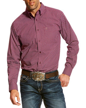 Ariat Men's Purple Ashford Print Shirt , Purple, hi-res
