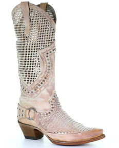 Corral Women's Pink Zipper Cutout Studded Harness Western Leather Boots - Snip Toe, Pink, hi-res