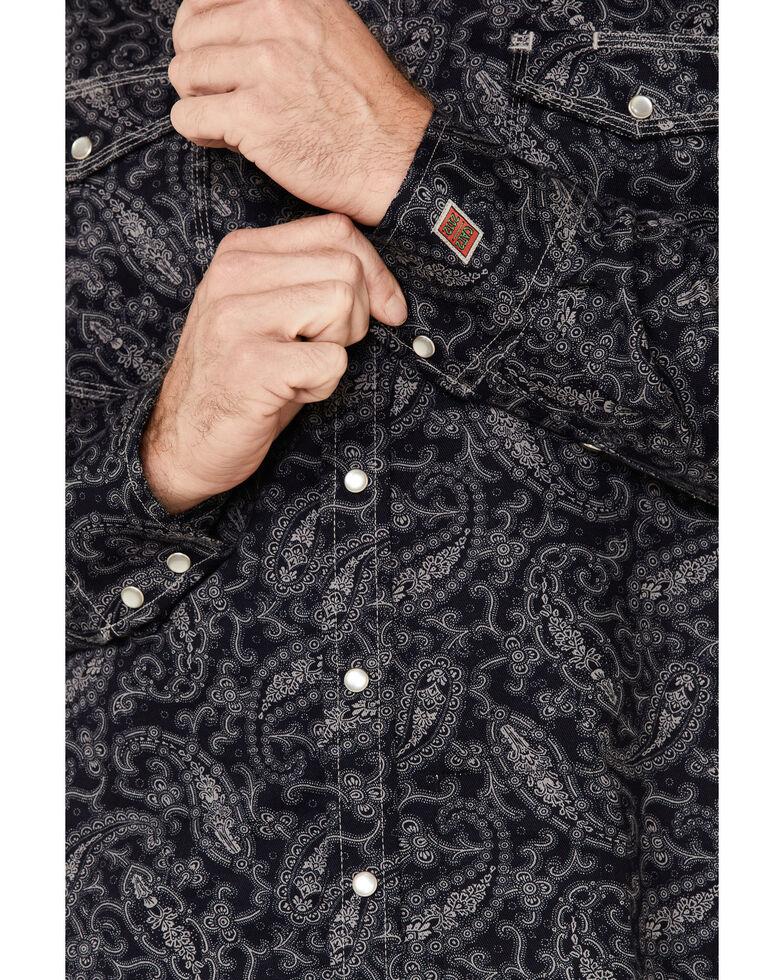 Rock & Roll Denim Men's FR Black Paisley Long Sleeve Work Shirt , Black, hi-res