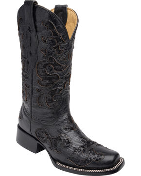 Corral Women's Sequin Inlay Cowgirl Boots - Square Toe, Black, hi-res