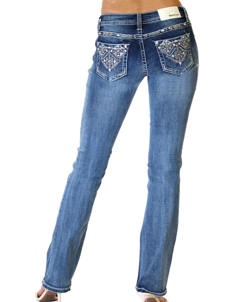 Grace in LA Women's Aztec Pocket Bootcut Jeans , Blue, hi-res