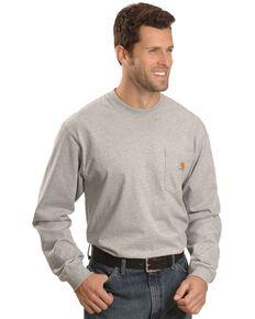 Carhartt Men's Solid Pocket Long Sleeve Work T-Shirt , Hthr Grey, hi-res