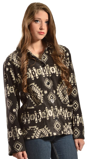 Jane Ashley Aztec Print Button-Up Fleece Jacket, Black, hi-res