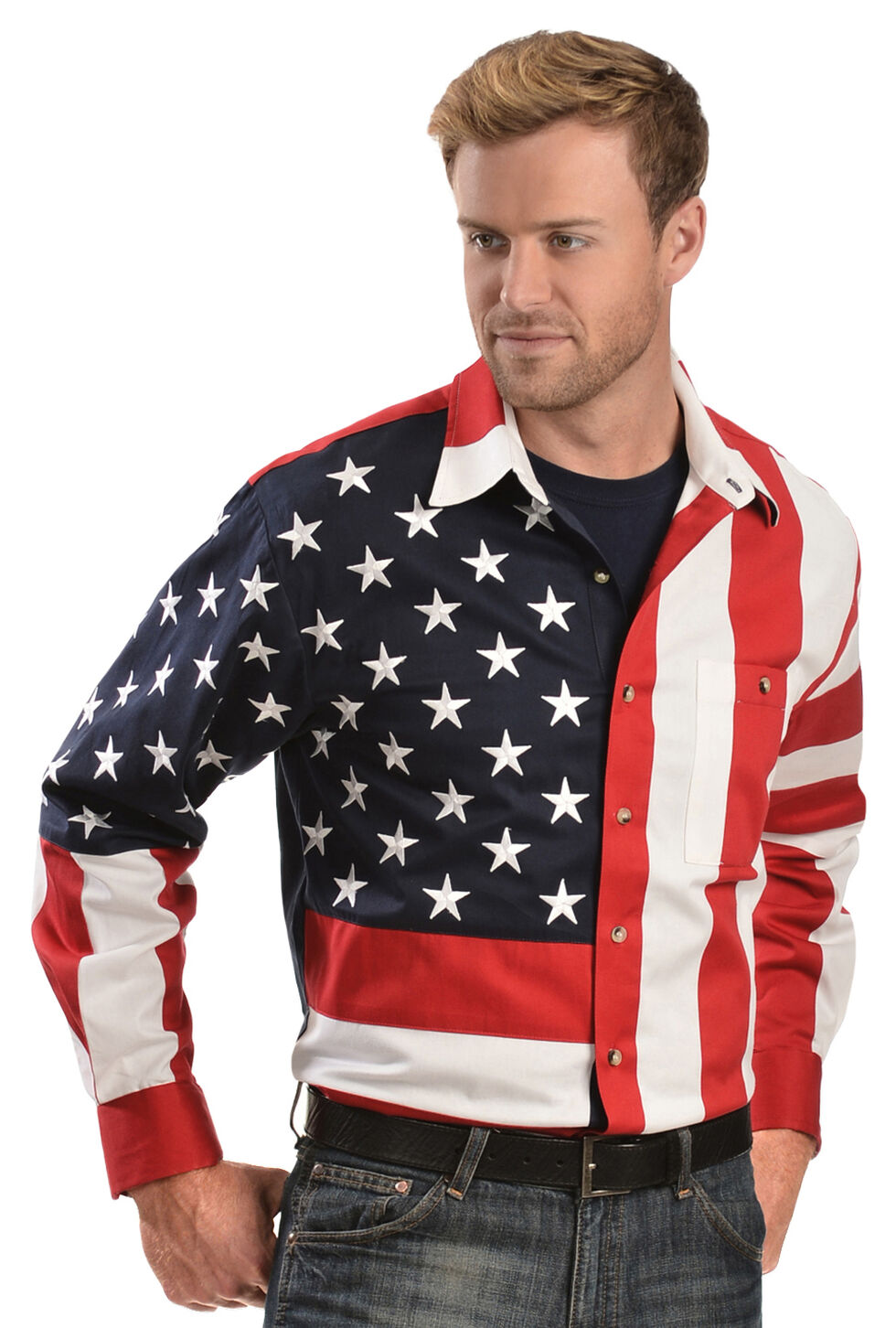 Scully Patriotic American Flag Western Shirt - Big & Tall, Multi, hi-res