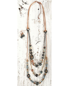 Shyanne Women's Beaded Layered Jewelry Set, Rust Copper, hi-res