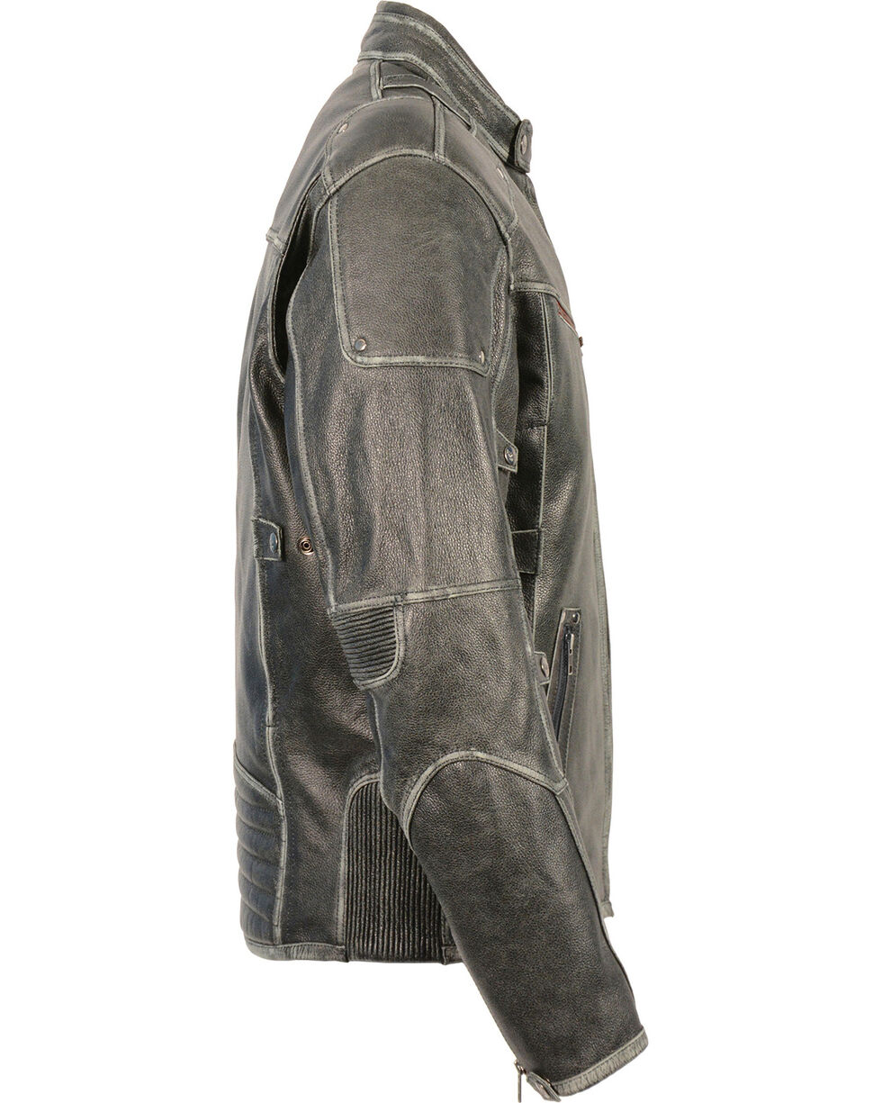 Milwaukee Leather Men's Vintage Distressed Triple Vented Jacket, Grey, hi-res