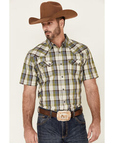 Moonshine Spirit Men's Limestone Plaid Short Sleeve Snap Western Shirt , White, hi-res