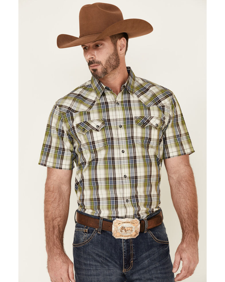 Moonshine Spirit Men's Limestone Plaid Short Sleeve Snap Western Shirt , White, hi-res