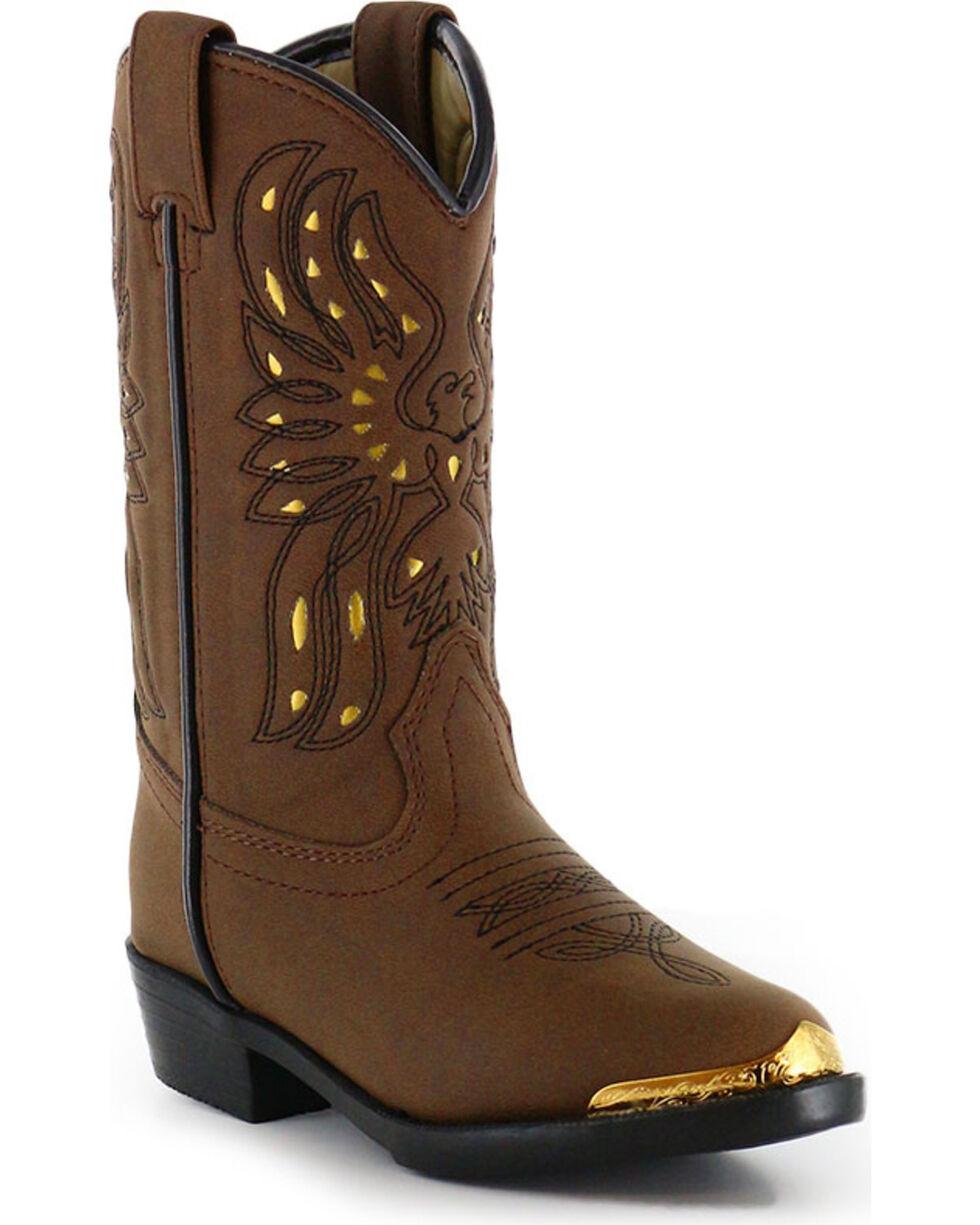 Shyanne Girls' Phoenix Western Boots - Narrow Round Toe , Brown, hi-res