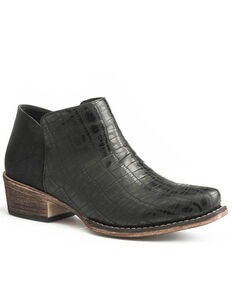 Roper Women's Black Sofia Faux Caiman Fashion Booties - Snip Toe, Black, hi-res