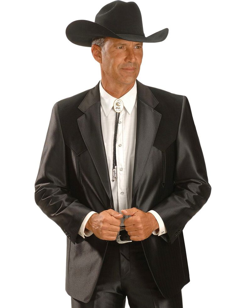 Circle S Boise Western Suit Coat - Big and Tall, Black, hi-res