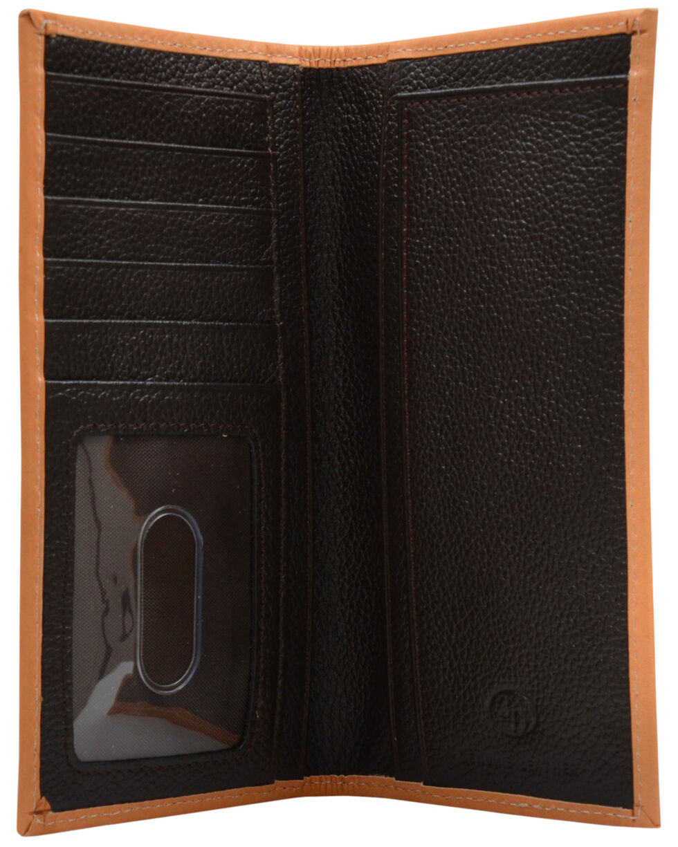 3D Men's Brown Ostrich Print Leather Rodeo Wallet , Brown, hi-res