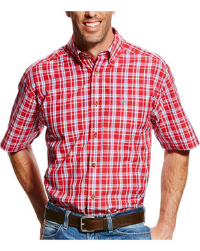 Ariat Men's Red Cedric Plaid Short Sleeve Shirt , Red, hi-res