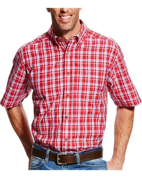 Ariat Men's Red Cedric Plaid Short Sleeve Shirt , Red, hi-res