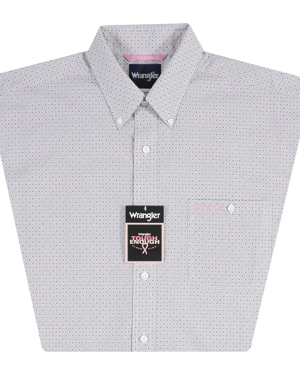 Wrangler Men's Tough Enough To Wear Pink Grey Print Shirt , Pink, hi-res