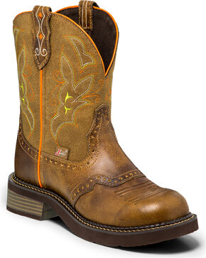 Justin Gypsy Women's Gemma Buffalo Tan Cowgirl Boots - Round Toe, Tan, hi-res